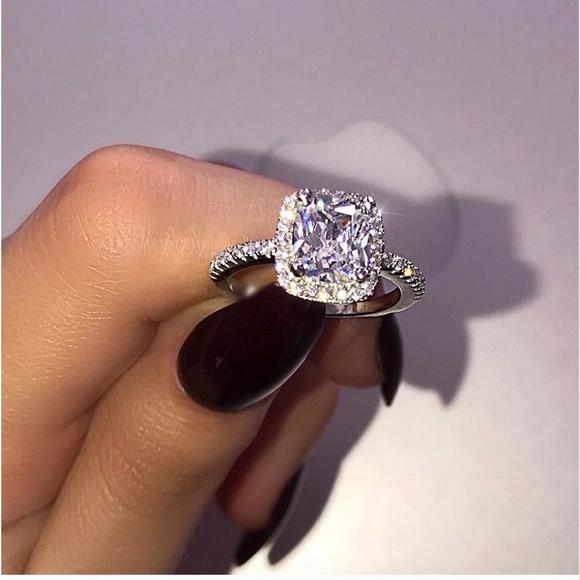 Jewelry Squarecut Diamond Crystal Wedding Engagement Ring Poshmark